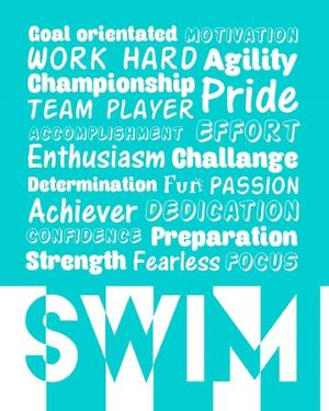 Swimming Word Cloud - White by Sports Mania