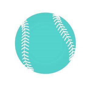 Teal Softball on White by Sports Mania