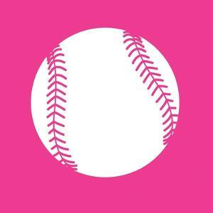 White Softball on Pink by Sports Mania