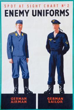 Spot at Sight Chart No. 2, Enemy Uniforms, German Airman, German Sailor