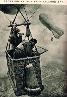 Spotting from a Kite-Balloon Car, Illustration from 'Newnes' Pictorial Book of Knowledge'