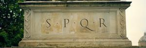 Spqr Text Carved on the Stone, Piazza Del Campidoglio, Palazzo Senatorio, Rome, Italy