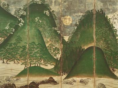 Spring Landscape with Sun, Part of a Six Panel Folding Screen