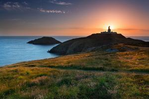 Strumble Head Lighthouse at Sunset by Spumador