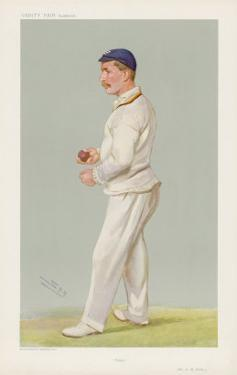 C M Wells English Cricketer Seen Here About to Bowl by Spy (Leslie M. Ward)