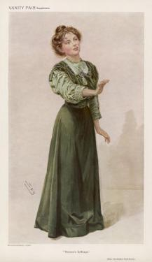 Christabel Pankhurst Women's Rights Advocate and Suffragette by Spy (Leslie M. Ward)
