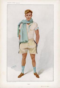 Douglas Stuart Dressed for Sport in Short Sleeved Vest with Pale Blue Trim and Flannel Shorts by Spy (Leslie M. Ward)
