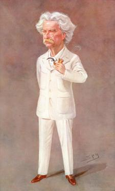 Mark Twain American Writer Born: Samuel Langhorne Clemens Pictured in a White Suit by Spy (Leslie M. Ward)