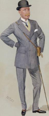 Sporting Major Eustace Loder in a Double-Breasted Pin- Stripe Suit with Trousers That Taper by Spy (Leslie M. Ward)