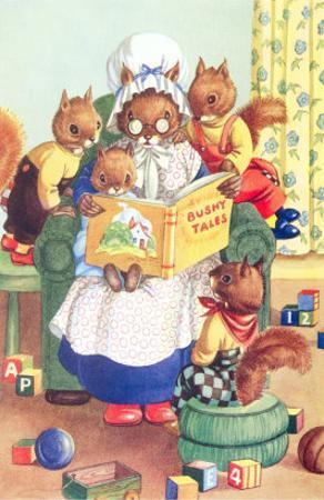Squirrel Granny Reading Bushy Tales