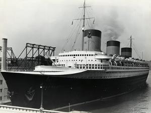 SS Normandie Docked in New York Harbor