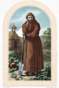 St. Fiacre. Irish Hermit Monk Born in 7th Century. Patron of Gardeners. Nineteenth Century…