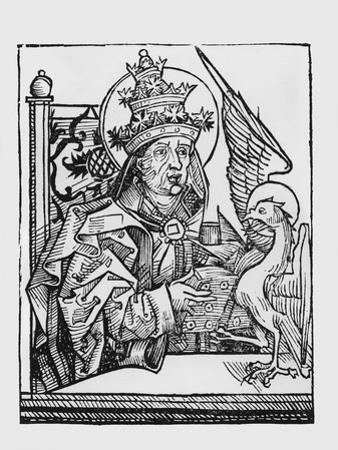 St. Gregory the Great (C.540-604) from 'Liber Chronicarum' by Hartmann Schedel (1440-1514) 1493