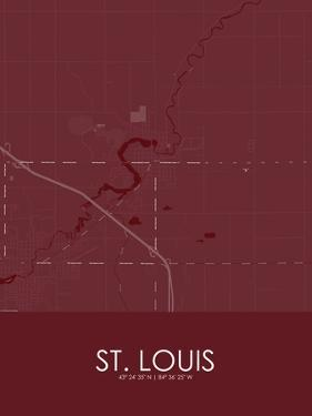 St. Louis, United States of America Red Map