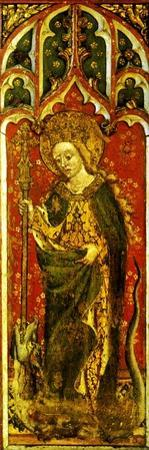 St. Margaret of Antioch with Crozier and Dragon, Detail of the Rood Screen, All Saints Church,…