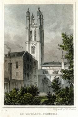 St Michael's Church, Cornhill, City of London, C1830 by W Watkins