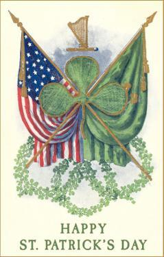St. Patricks Day, US and Irish Flags