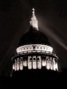 St. Paul's Cathedral in London Lit up at Night for Victory Day Celebrations, June 1946