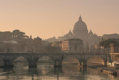 St Peter's Basilica and Ponte Sant Angelo, Rome, Italy