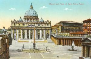 St. Peter's Square and Cathedral, Rome, Italy