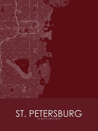St. Petersburg, United States of America Red Map