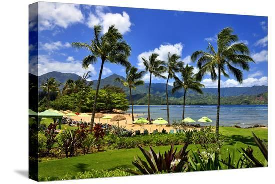 St. Regis Princeville Resort Hotel with View of the Bay at Hanalei Beach, Island of Kauai--Stretched Canvas