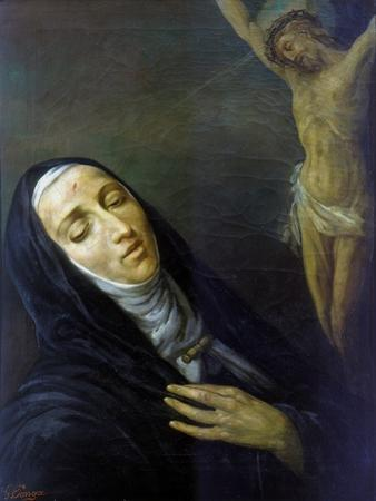 St Rita De Cascia in Ecstasy in Front of the Figure of Christ on the Cross, 19th Century