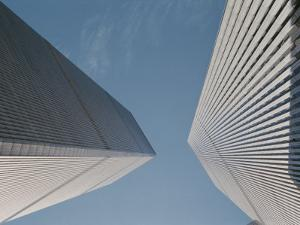 Dizzying View Looking Straight up at Both of the World Trade Centers by Stacy Gold