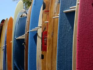 Row of Surfboards, Waikiki Beach, Hawaii by Stacy Gold