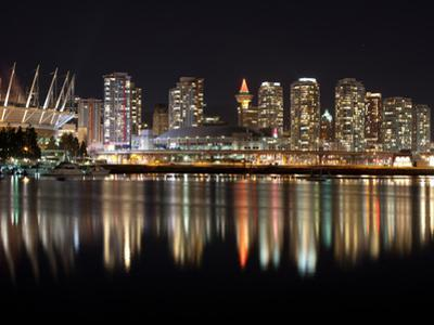 Stadium with Buildings Lit Up at Night, BC Place, False Creek, Vancouver, British Columbia, Canada