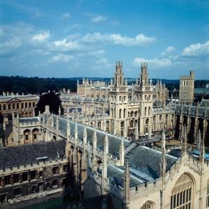 An aerial view of All Souls College in Oxford, 1973 by Staff