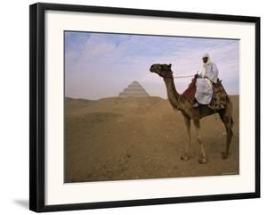 Bedouin Camel Rider in Front of Pyramid of Djoser, Egypt, North Africa by Staffan Widstrand