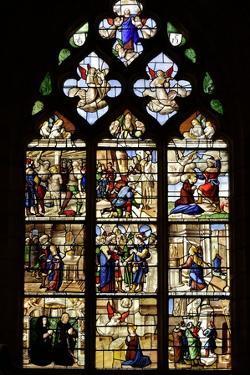 Stained-glass window of the Saint Barbara Chapel, 16th century, Notre-Dame de Semur-en-Auxois