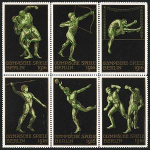 Stamps Marking Germany 1916 Berlin Olympic Games, With Various Events Represented