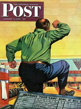 """Bowling a Split,"" Saturday Evening Post Cover, January 6, 1945 by Stan Ekman"