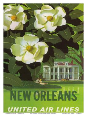New Orleans, USA, Magnolia Blossoms, Louisiana State Flower, United Air Lines by Stan Galli