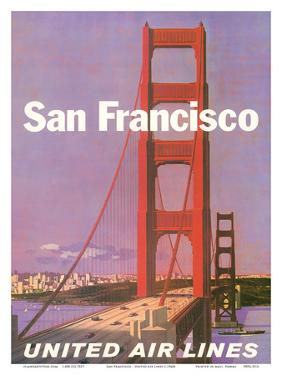 San Francisco - Golden Gate Bridge - United Air Lines by Stan Galli