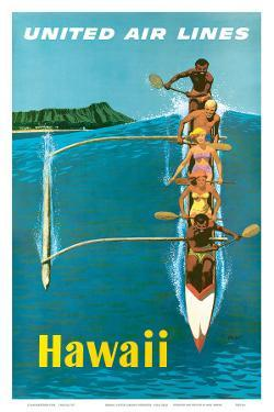 United Air Lines, Hawaii, Outrigger Canoe by Stan Galli