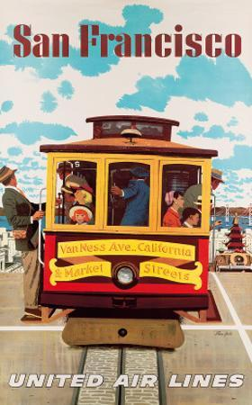 United Air Lines San Francisco, Cable Car c.1957 by Stan Galli