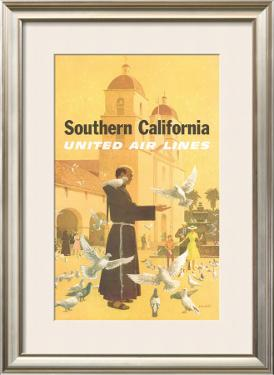United Airlines: Southern California, Franciscan Monk and Spanish Mission by Stan Galli