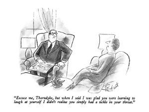 """""""Excuse me, Thorndyke, but when I said I was glad you were learning to lau…"""" - New Yorker Cartoon by Stan Hunt"""