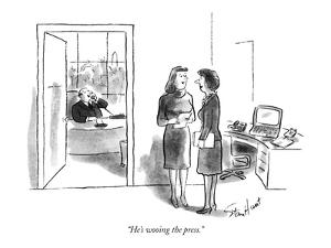 """""""He's wooing the press."""" - New Yorker Cartoon by Stan Hunt"""