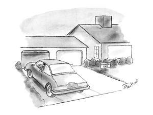 Man in car pulls into driveway; along the side of the driveway there is a … - New Yorker Cartoon by Stan Hunt