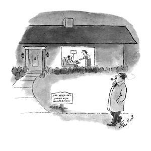 """Man walking by house with sign """"Jim Wiggins-Under New Management"""" he sees … - New Yorker Cartoon by Stan Hunt"""