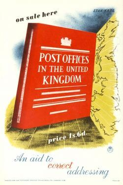 On Sale Here, 'Post Offices in the United Kingdom', Price 1S, 6D, an Aid to Correct Addressing by Stan Krol