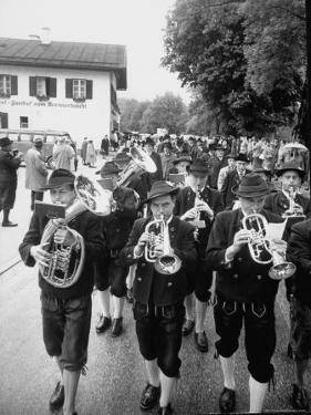 Brass Band Playing For Bavarian Wedding Procession by Stan Wayman