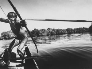 Brazilian Indian Fishing with a Bow and Arrow by Stan Wayman