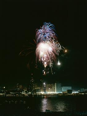 July 4, 1959: View of a Fireworks Display Above the Detroit River, Detroit, Michigan by Stan Wayman