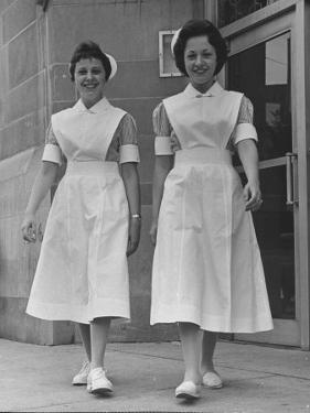Paula and Susan Fox Sisters Who Are Student Nurses at Wesley Memorial Hospital by Stan Wayman