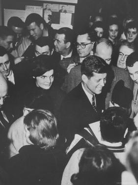 Senator John F. Kennedy and Wife Campaigning in Democratic Presidential Primaries by Stan Wayman